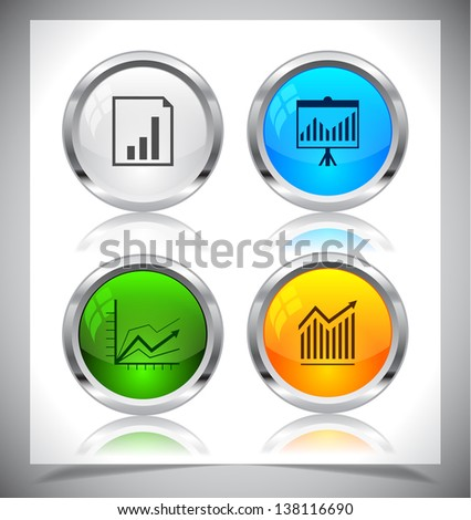 Cool color shiny metal web buttons. Vector illustration. - stock vector