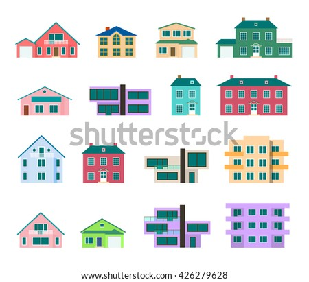 Cool colorful detailed houses icons set. Flat residential building isolated on white. Town house cottage. Real estate. 10 EPS vector illustration