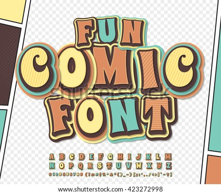 Cool colorful high detail comic font on comic book page. Alphabet in style of comics, pop art. Multilayer funny letters, figures for decoration of kids' illustrations, posters, comics, banners - stock vector