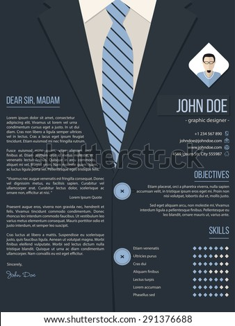 Cool cover letter resume cv template design with business suit background - stock vector