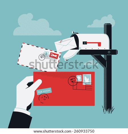 Cool creative vector concept design on incoming correspondence and mail delivery with curbside mailbox on pole and abstract postman hand holding red envelope with stamps - stock vector