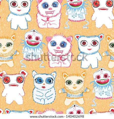 Cool cute creatures. Little cute monsters. Seamless vector background.