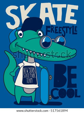 cool, cute monster crocodiles character. skate, skateboard