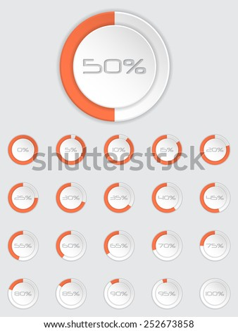 Cool 3d loader icon set with different state and percentage - stock vector