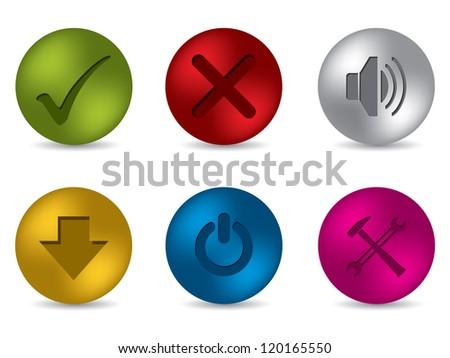 Cool 3d matte button set of six - stock vector