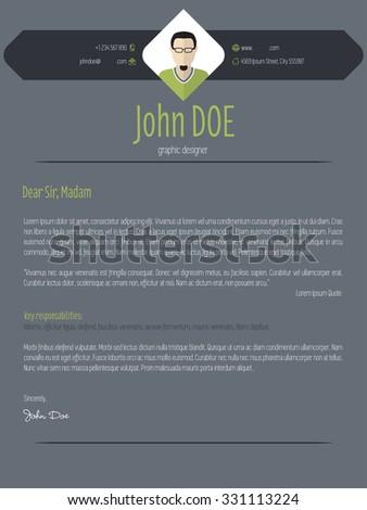 cool dark resume cover letter cv stock vector 302560577 shutterstock