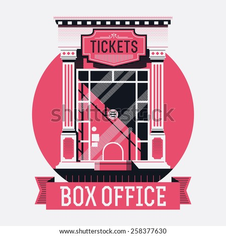 Cool detailed concept design on film box office report with retro style cinema movie theater tickets booth window - stock vector