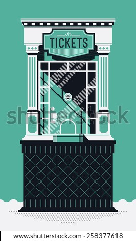 Cool detailed creative retro style cinema movie theater tickets box office booth illustration. Motion picture box office concept design - stock vector