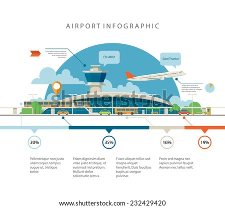 Cool detailed flat vector airport with infographic elements templates. Different transport types in front of the main terminal. EPS10 vector illustration. - stock vector