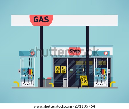 Cool detailed vector modern flat design gas filling station. Transport related service building  Gasoline and oil station with shop - stock vector