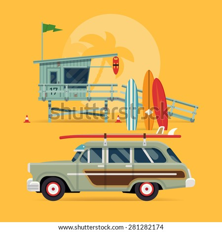 Cool detailed vector modern flat web banner design on surfing, best summer vacation, beach recreation, water activities for travel agency promotion with woody surf car, surfboards and lifeguard tower - stock vector