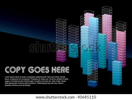 cool dimension box background design - stock vector