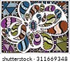 Cool doodles, zentangle, vector, illustration, pattern, freehand pencil, colorful, background, hand drawn - stock vector