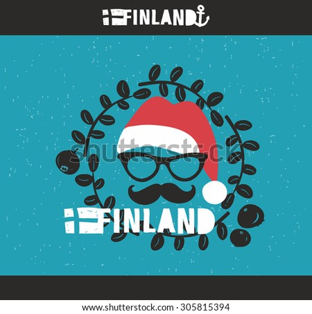 Cool emblem of Finland with hand drawn image in vintage style. Country label print is good for souvenirs like t-shirt, tea mug and so on. - stock vector