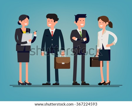 Cool flat design corporate business people line-up. Group of office workers standing smiling. Men and women in office wear full length, isolated - stock vector