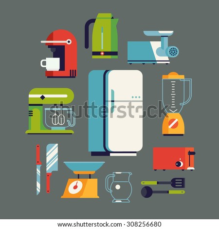 Cool flat design on essential kitchen appliances set, tools and equipment including fridge, electric mixer, coffee maker machine, toaster, electric kettle, blender, knife, meat grinder and utensils - stock vector