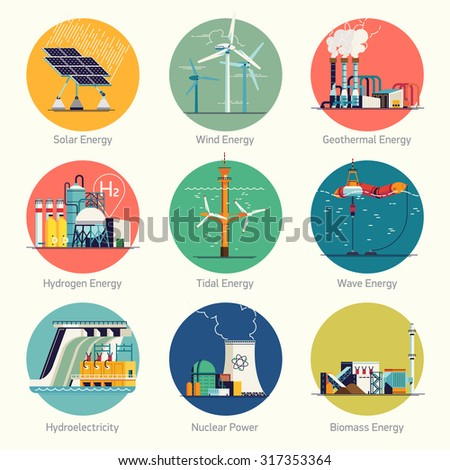 Cool flat design vector set of round circle web icons on electricity generation plants and sources | Ecological friendly low and zero emission power plants and energy producing stations - stock vector