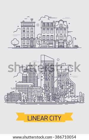Cool flat line illustration on large city metropolis skyline and downtown area houses, commercial buildings and skyscrapers. Linear large city with skyscrapers and small old town - stock vector