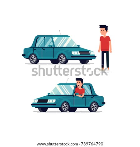 Cool flat vector character design on driver standing next to vehicle and looking out of the window while driving the car. Happy car owner concept illustration
