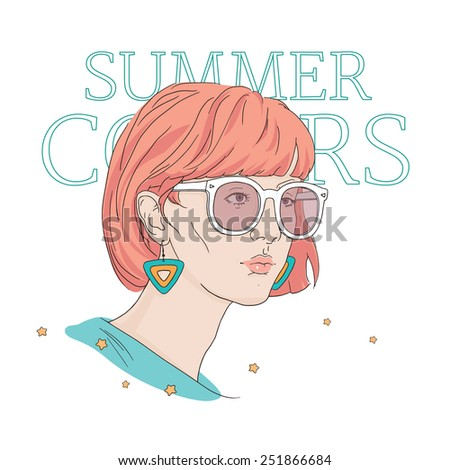 Cool girl with sunglasses: hand drawn vector illustration. Hair dyeing and  fashion accessories. - stock vector