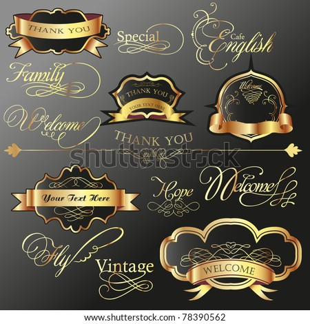cool golden label tag set with wording calligraphy - stock vector