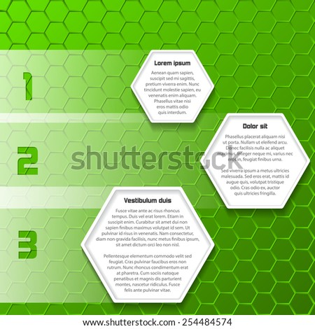 Cool green infographic design with hexagon textboxes and background - stock vector