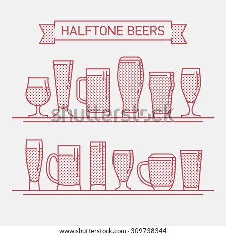 Cool halftone linear flat design vector beer glassware set | Various types of beer glasses, mugs and goblets in trendy outline style featuring stout, lager, porter, ale, pilsner and other beer glasses - stock vector