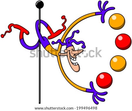 Cool harlequin-like circus man juggling colorful balls in a difficult position while grabbing a pole with his legs and laughing enthusiastically - stock vector