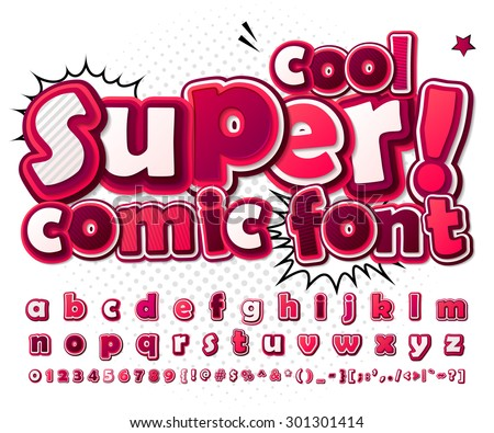 Cool high detail comic font in pink colors. Alphabet in style of comics, pop art. Multilayer colorful 3d letters and figures for kids' illustrations, comics, banners. Letters are painted differently - stock vector