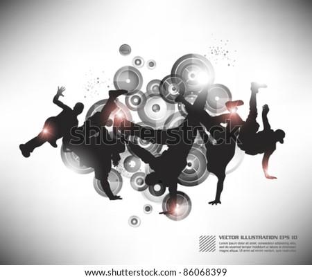 cool hip hop boy dancing in the club - stock vector