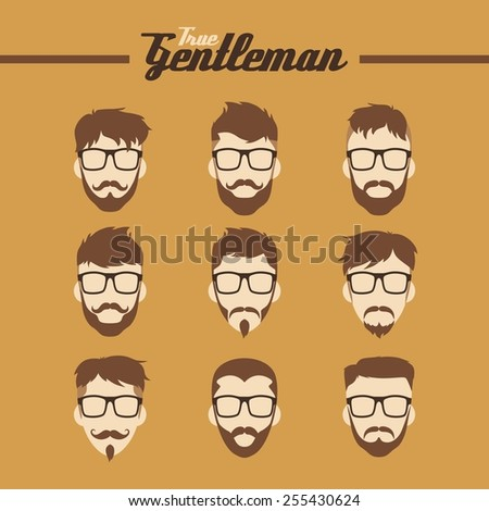 cool hipster guy face set - stock vector