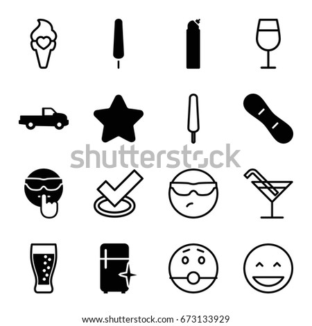 Cool Icons Set Set 16 Cool Stock Vector 673133929 Shutterstock