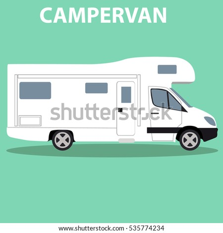 Cool illustration of a brand less camper van side view. EPS10 vector image of an old motor home