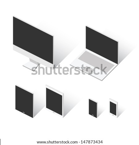 Cool isometric squared electronic devices vector eps10 - stock vector