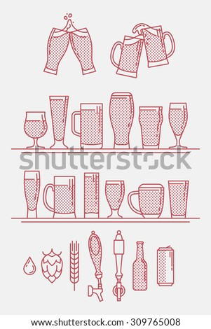 Cool linear halftone artisan craft brewery beer icons. Thin line beer glasses, can, bottle, bar tap, hops, barley and water symbols. Ideal for bar, pub, restaurant menu and craft beer shop branding  - stock vector