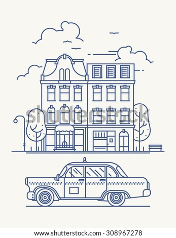 Cool linear old town street with building facades | Thin line urban graphic and web design element featuring small town street and retro taxi cab car