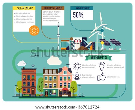 Cool low or zero emission green energy for city needs | Renewable energy resources infographic layout | Vector banner or brochure template on ecosystem and environment friendly electricity - stock vector