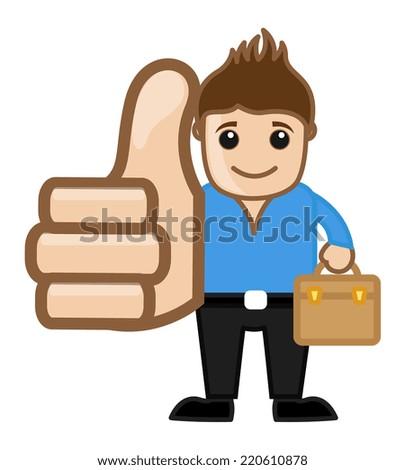 Cool Man Thumbs Up Concept - Vector Character Cartoon Illustration - stock vector