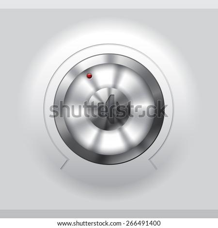 Cool metallic volume knob design on light background - stock vector