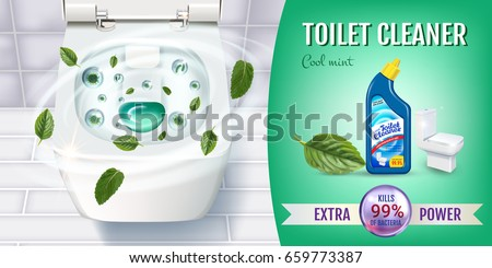 cool mint fragrance toilet cleaner gel ads vector realistic with top view of toilet