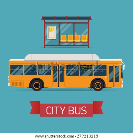 Cool modern flat design public transport items bus stop structure and city transit shorter distance bus, side view, isolated - stock vector