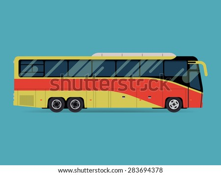 Cool modern flat design public transport vehicle intercity longer distance tourist coach bus, side view, isolated - stock vector