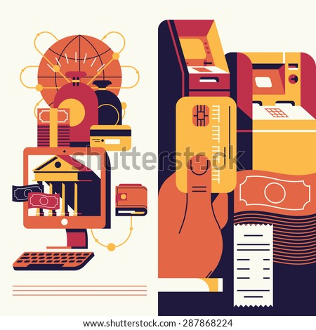 Cool modern trendy vector flat concept design on online banking cash withdrawal and account managing with desktop personal computer, wallet, teller machines, hand with credit card, banknotes and more - stock vector