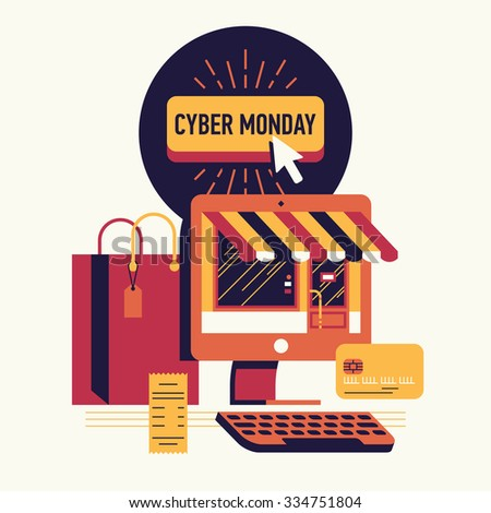 Cool modern vector concept design on Cyber Monday sale online shopping seasonal event featuring computer monitor with shop facade, credit card, mouse cursor on button with sample title