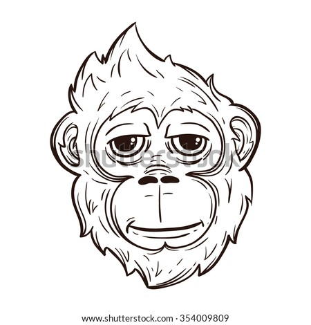 Cool monkey face with line art style