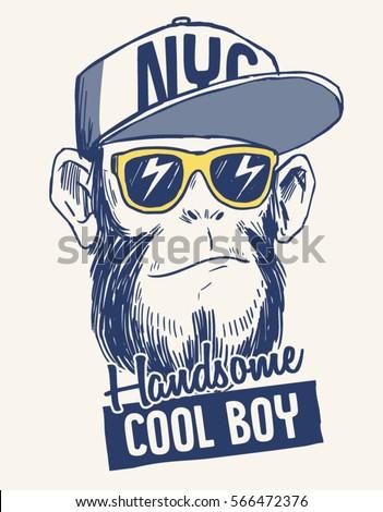 Cool Monkey Illustration Cool Slogan Tshirt Stock Vector