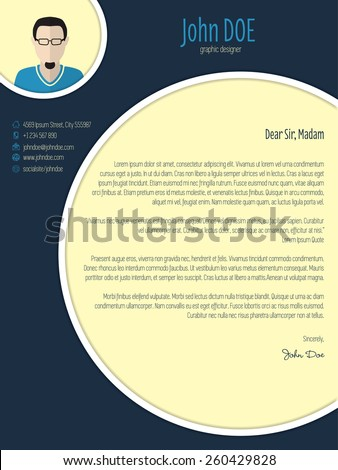 Cool new modern cover letter template with circle elements - stock vector