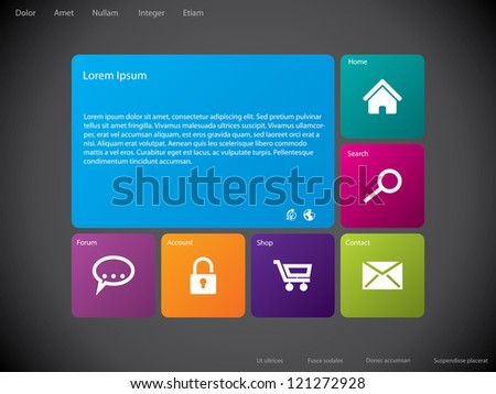 Cool new website template design with large icons - stock vector
