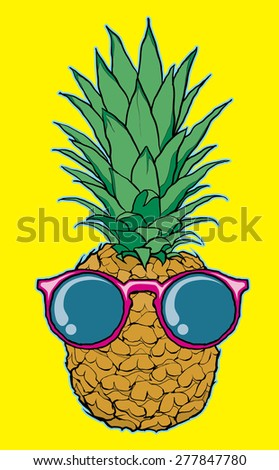 cool pineapple with sunglasses vector illustrtaion