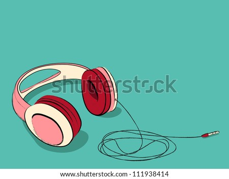 cool pink earphones laying, Vector illustration. - stock vector